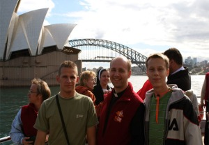 Polish pilgrims enjoying Sydney Harbour